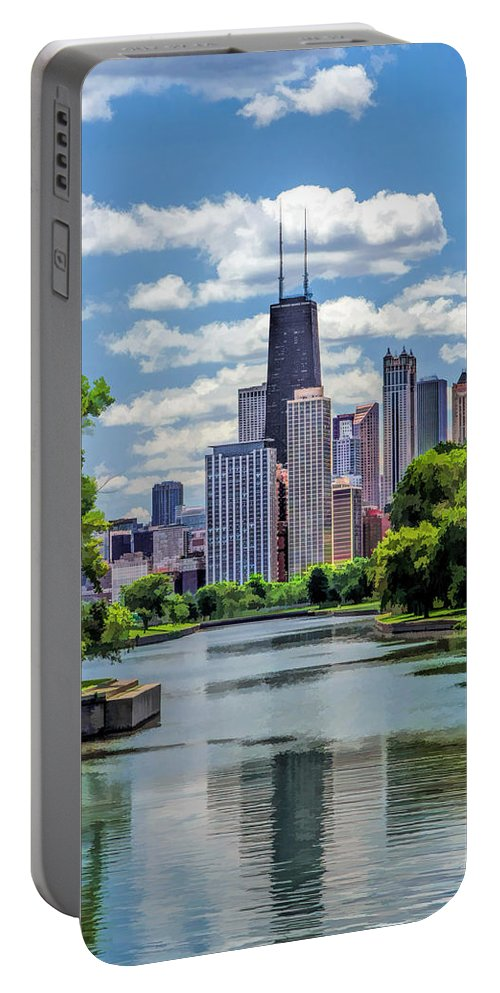 Buildings Portable Battery Charger featuring the painting Chicago Lincoln Park Lagoon by Christopher Arndt