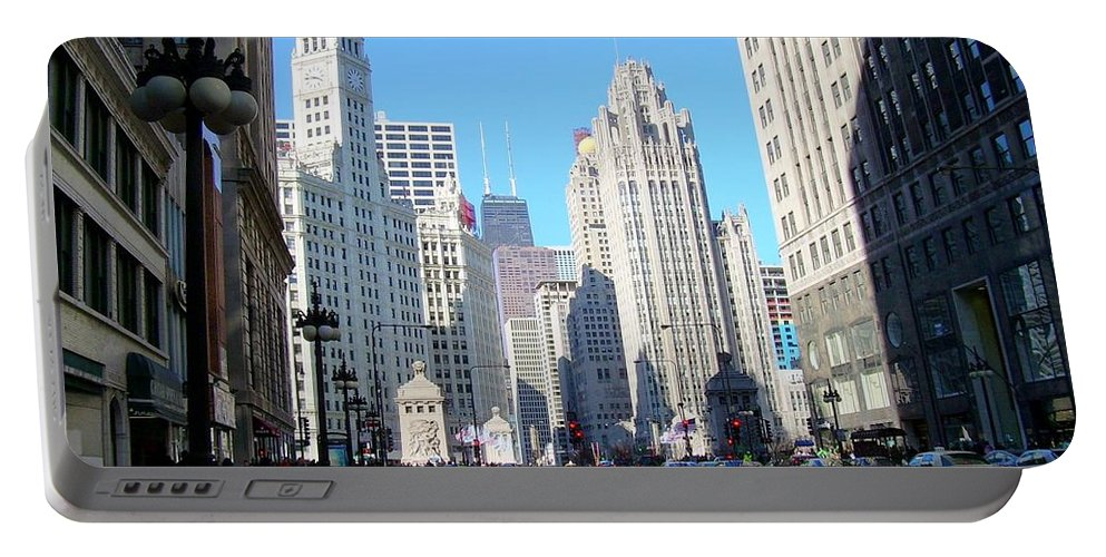 Chicago Portable Battery Charger featuring the photograph Chicago Miracle Mile by Anita Burgermeister