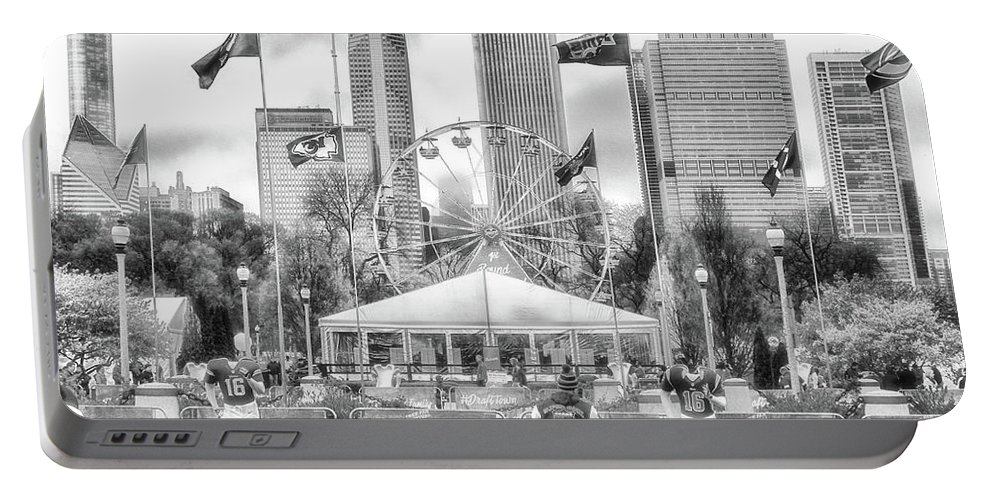 Cities Portable Battery Charger featuring the photograph Chicago Nfl Draft Town 2016 Bw by Thomas Woolworth