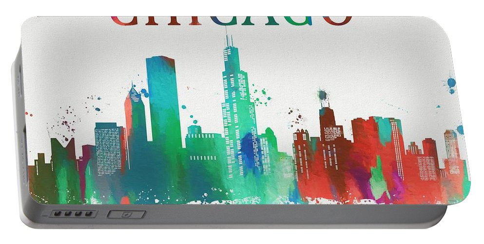 Colorful Chicago Skyline Portable Battery Charger featuring the painting Chicago Paint Splatter by Dan Sproul