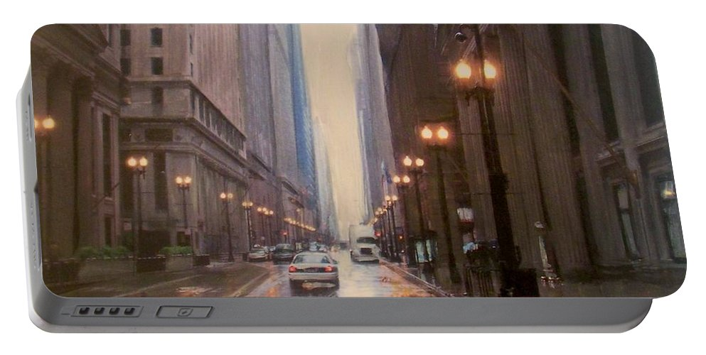 Chicago Portable Battery Charger featuring the painting Chicago Rainy Street by Anita Burgermeister