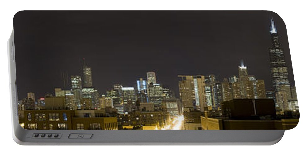 City Sky Skyline Wind Windy Windycity Il Chicago Night Dark Light Lights Street Building Tall House Portable Battery Charger featuring the photograph Chicago Skyline by Andrei Shliakhau