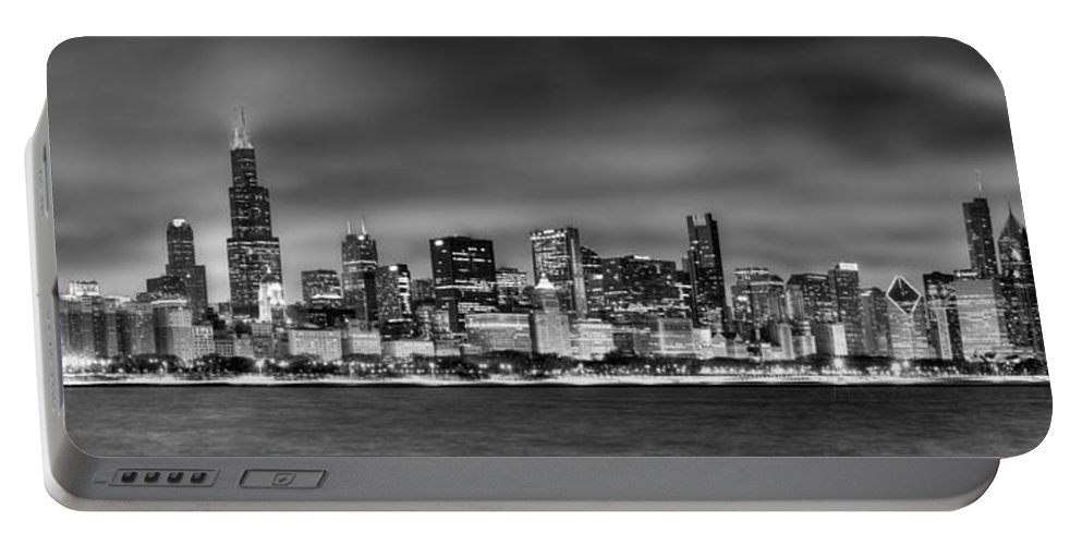 Chicago Skyline Portable Battery Charger featuring the photograph Chicago Skyline At Night Black And White by Jon Holiday
