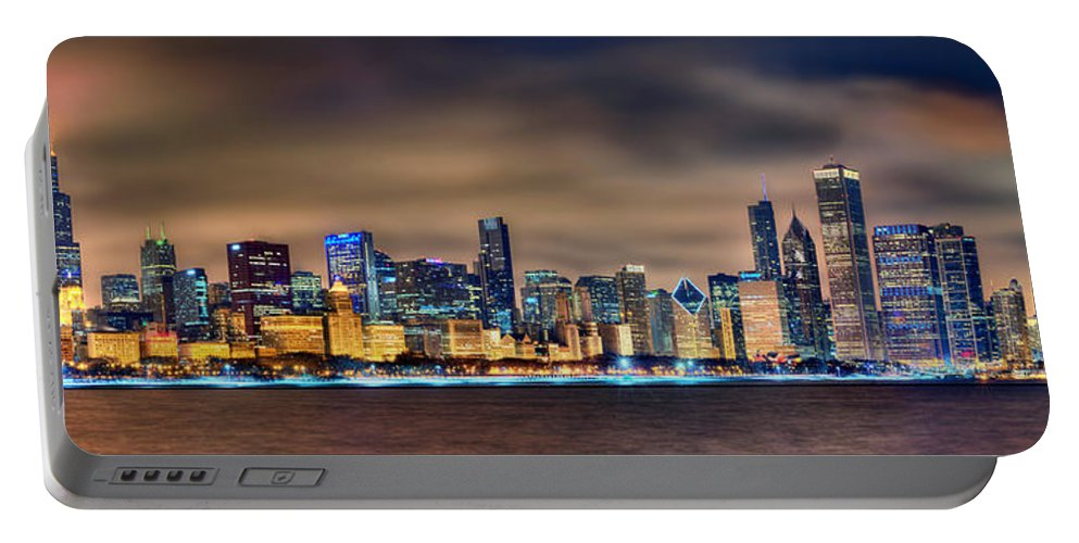 Chicago Portable Battery Charger featuring the photograph Chicago Skyline At Night Panorama Color 1 To 3 Ratio by Jon Holiday