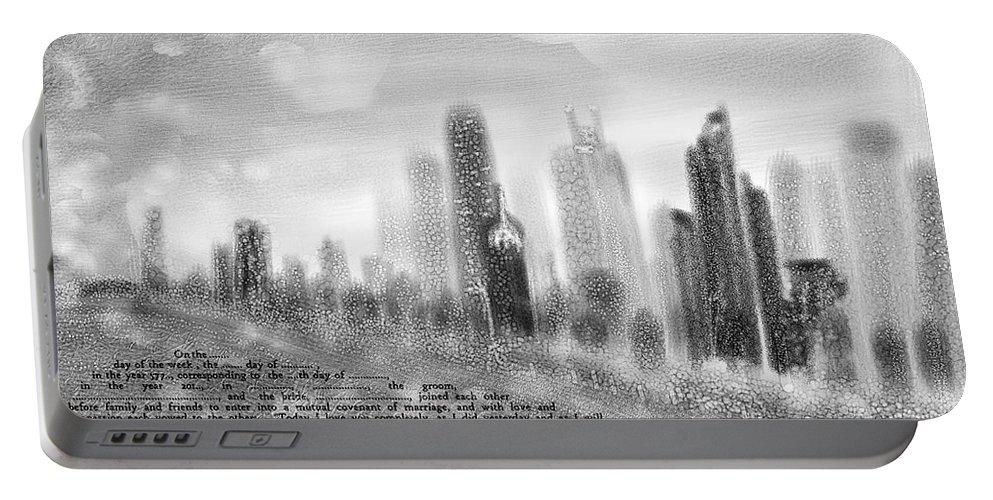 Ketubah Portable Battery Charger featuring the digital art chicago skyline Ketubah by Sandrine Kespi