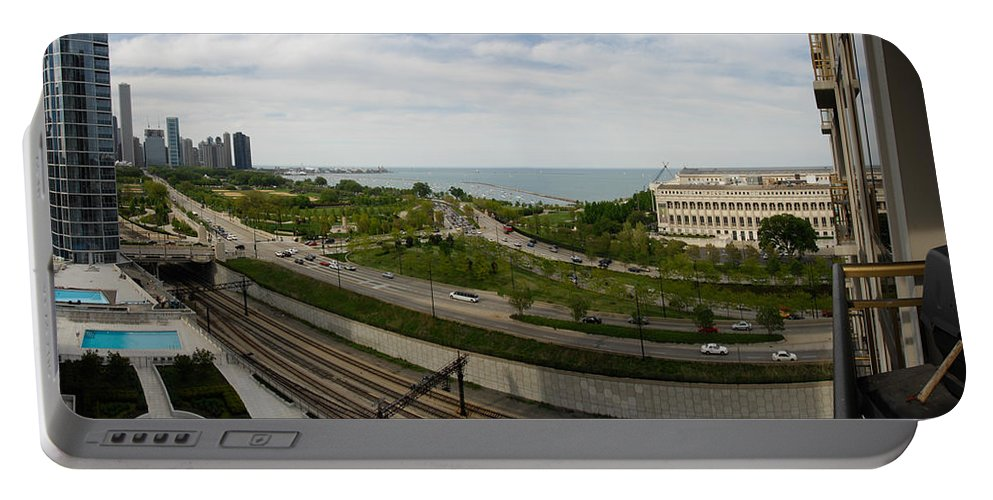 Chicago Portable Battery Charger featuring the photograph Chicago Skyline Showing Monroe Harbor by Michael Bessler