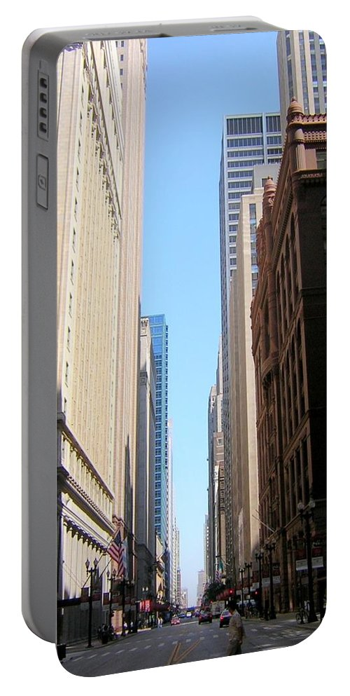 Chicago Portable Battery Charger featuring the photograph Chicago Street With Flags by Anita Burgermeister