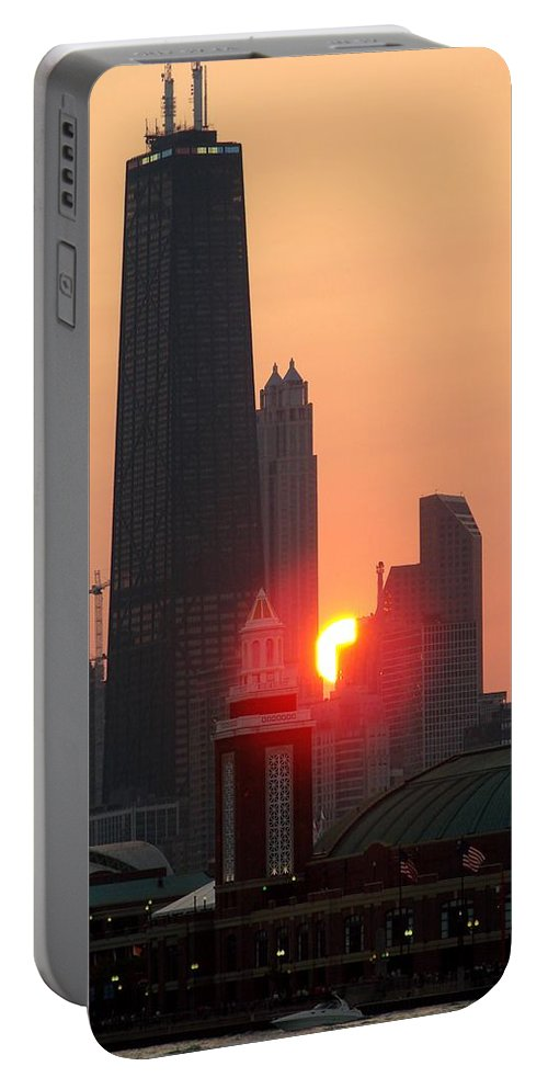 Photography Portable Battery Charger featuring the photograph Chicago Sunset by Glory Fraulein Wolfe