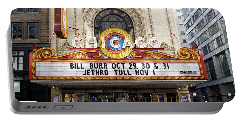 Chicago Theater Portable Battery Charger featuring the photograph Chicago Theater Marquee Jethro Tull Signage by Thomas Woolworth