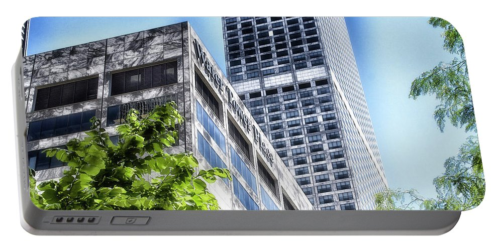 Chicago Portable Battery Charger featuring the photograph Chicago Water Tower Place Facade And Signage by Thomas Woolworth