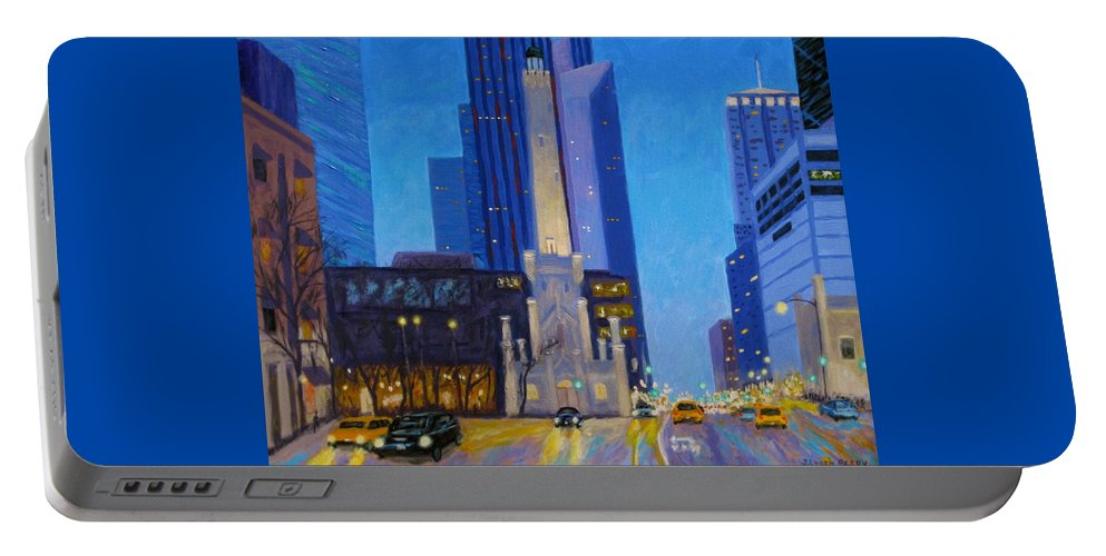 Chicago Art Portable Battery Charger featuring the painting Chicago's Water Tower At Dusk by J Loren Reedy
