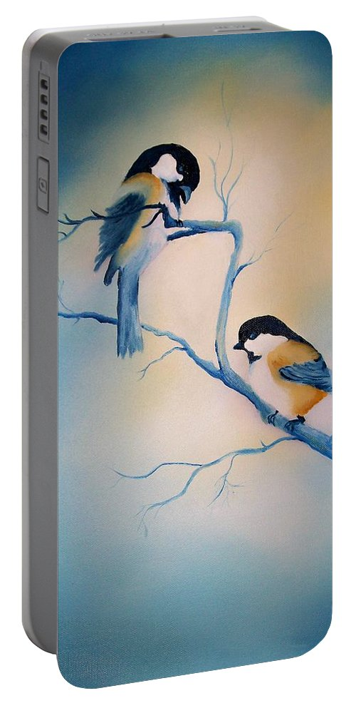 Birds Portable Battery Charger featuring the painting Chickadees by Leo Gordon