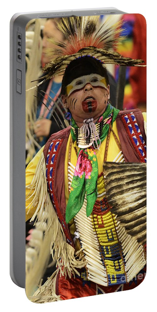 Pow Wow Portable Battery Charger featuring the photograph Pow Wow Chicken Dancer by Bob Christopher