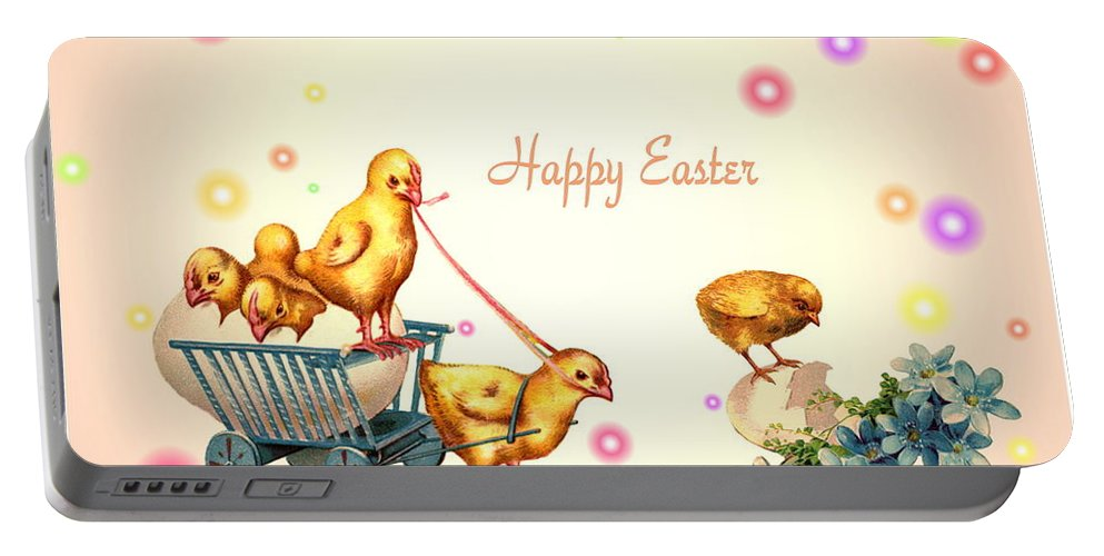 Chicks Portable Battery Charger featuring the photograph Chicks And Eggs - Happy Easter by Joyce Dickens