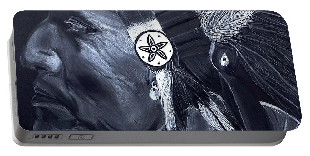 Charcoal Portable Battery Charger featuring the drawing Chief by Ashley Casterline