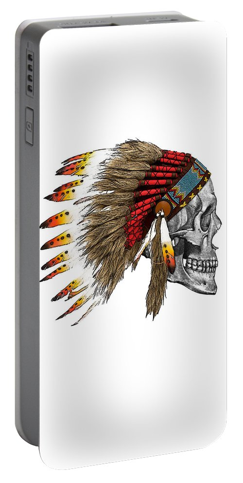 Indian Portable Battery Charger featuring the digital art Chief Headdress On Human Skull Native American Art by Madame Memento