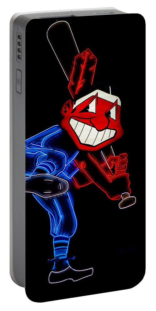 Cleveland Portable Battery Charger featuring the photograph Chief Wahoo by Stewart Helberg
