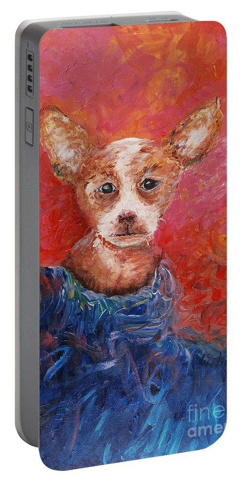 Dog Portable Battery Charger featuring the painting Chihuahua Blues by Nadine Rippelmeyer
