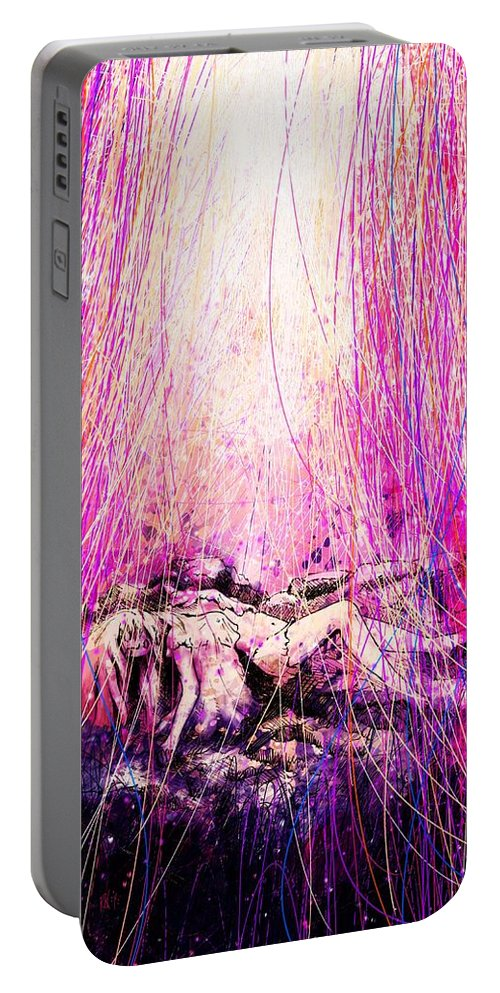 Abstract Portable Battery Charger featuring the digital art Child Of God by Rachel Christine Nowicki