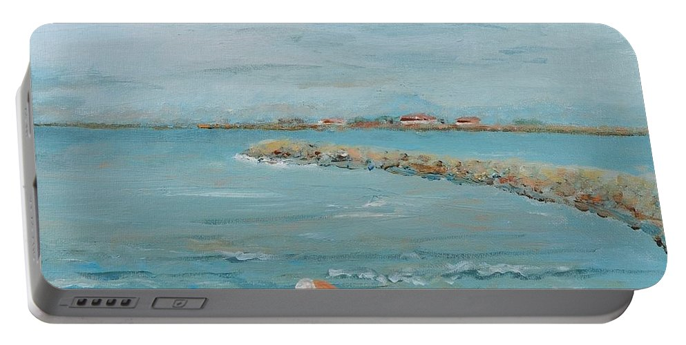 Beach Portable Battery Charger featuring the painting Child Playing At Provence Beach by Nadine Rippelmeyer