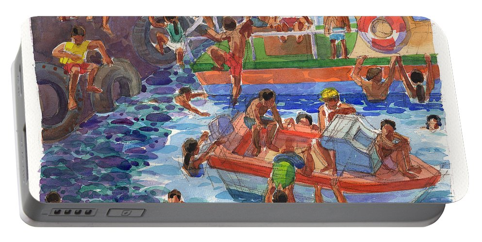 Rarotonga Portable Battery Charger featuring the painting Children Playing At Avarua Wharf by Judith Kunzle