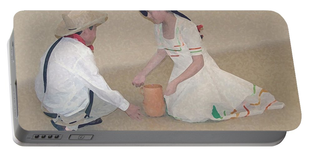 Children Portable Battery Charger featuring the digital art Children Playing by Robert Meanor