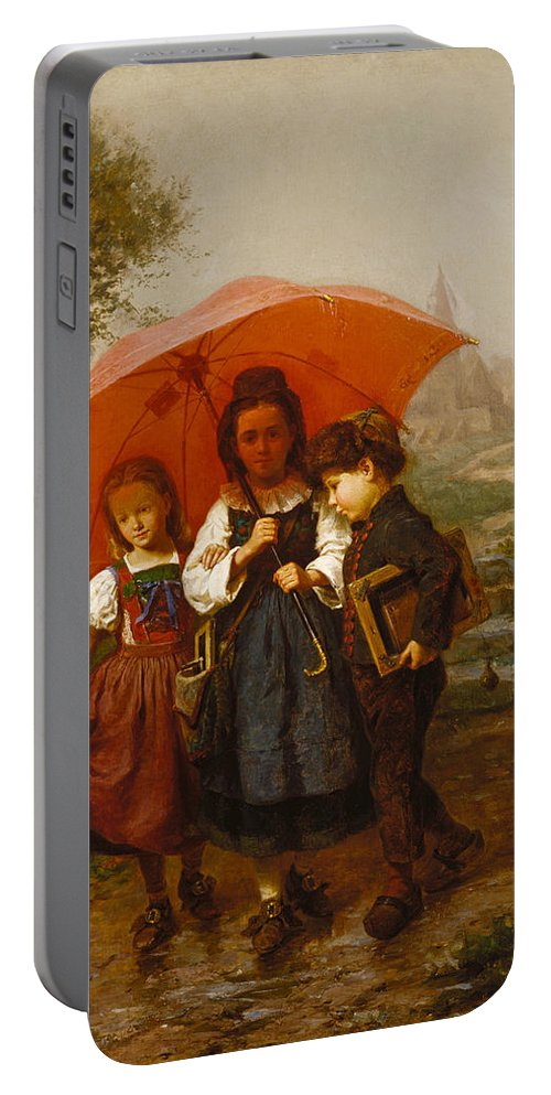 Henry Mosler Portable Battery Charger featuring the painting Children Under A Red Umbrella by Henry Mosler