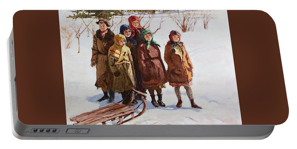 Snow Portable Battery Charger featuring the digital art Children With A Sled Nikolai Petrovich Bogdanov-belsky by Eloisa Mannion