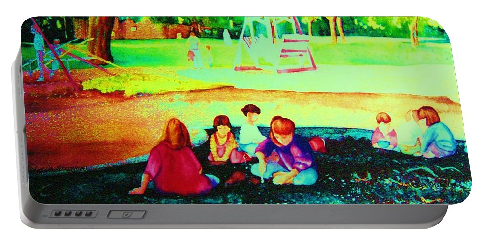 Central Park Portable Battery Charger featuring the painting Childs Play by Carole Spandau