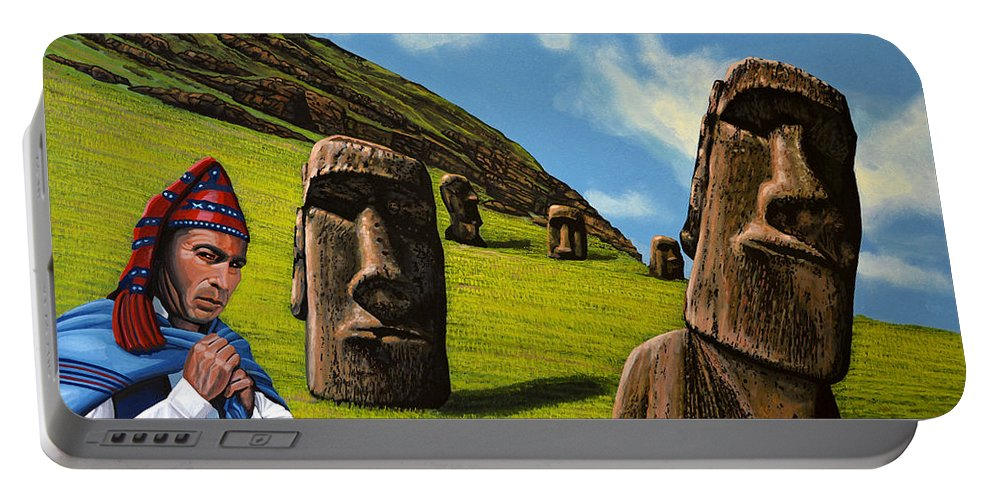 Chile Portable Battery Charger featuring the painting Chile Easter Island by Paul Meijering