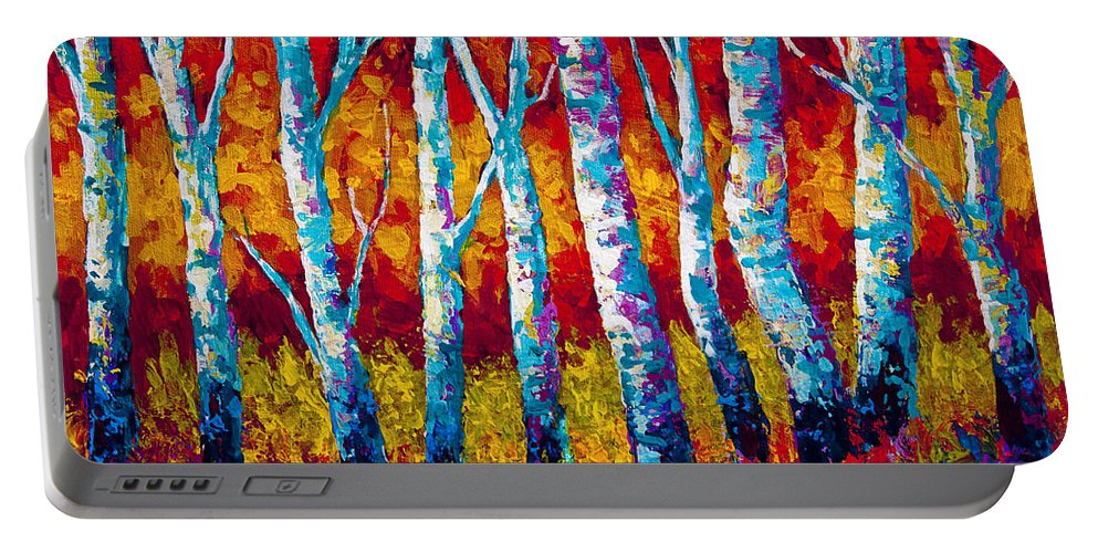 Trees Portable Battery Charger featuring the painting Chill In The Air by Marion Rose