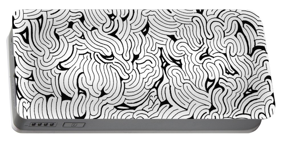 Mazes Portable Battery Charger featuring the drawing Chilling by Steven Natanson