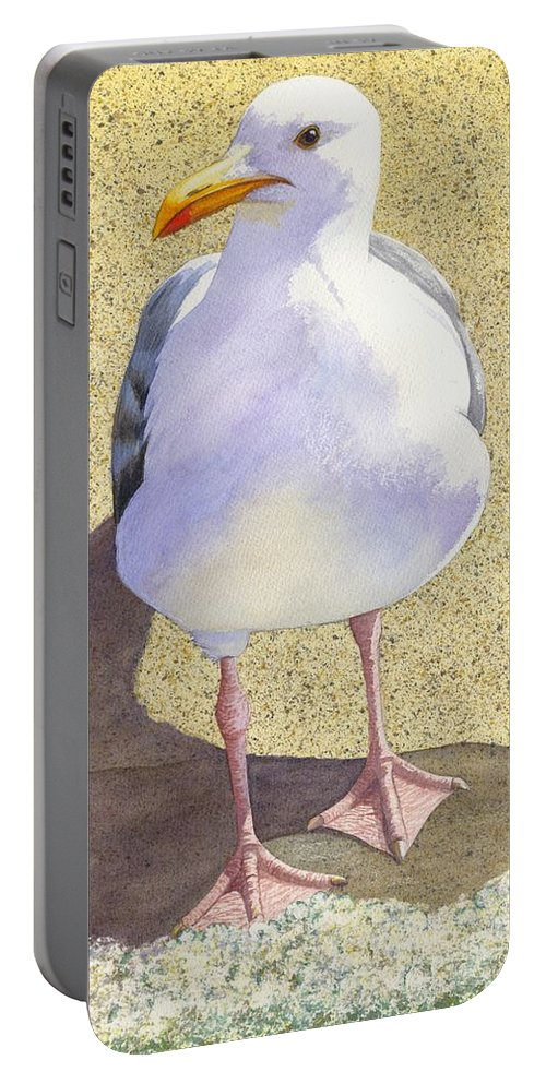 Seagull Portable Battery Charger featuring the painting Chilly by Catherine G McElroy
