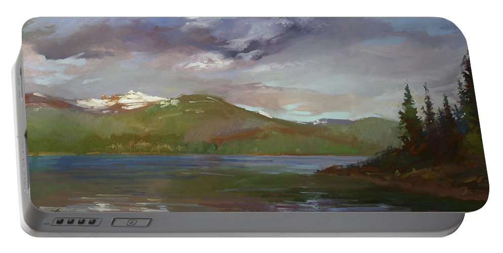 Murals Portable Battery Charger featuring the painting Chimney Rock At Priest Lake Plein Air by Betty Jean Billups