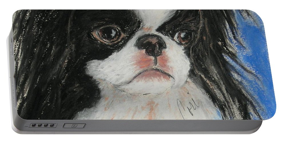 Japanese Chin Portable Battery Charger featuring the drawing Chin-sational by Cori Solomon