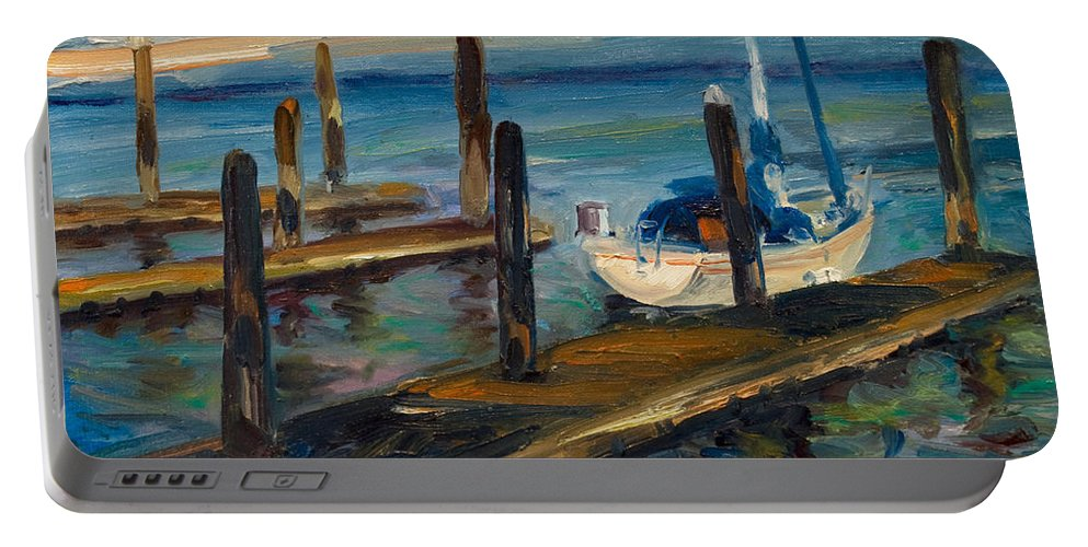 Marina Portable Battery Charger featuring the painting China Basin Docks by Rick Nederlof