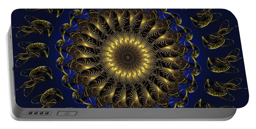 Swirl Portable Battery Charger featuring the digital art China Blue by Robert Orinski
