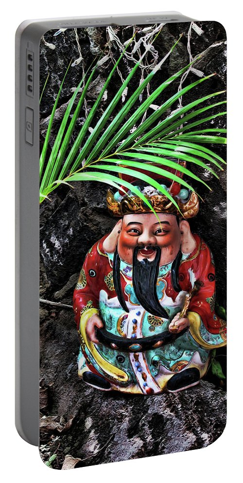 Gnome Portable Battery Charger featuring the digital art China Boat Gnome by Joan Minchak