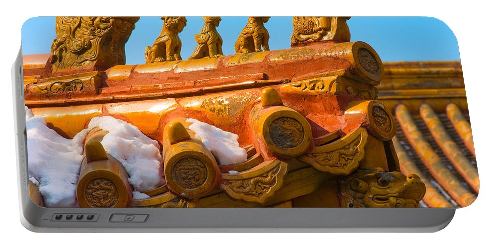 China Portable Battery Charger featuring the photograph China Forbidden City Roof Decoration by Sebastian Musial