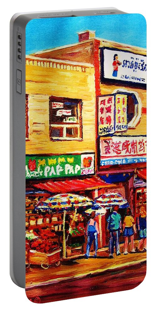 Montreal Portable Battery Charger featuring the painting Chinatown Markets by Carole Spandau
