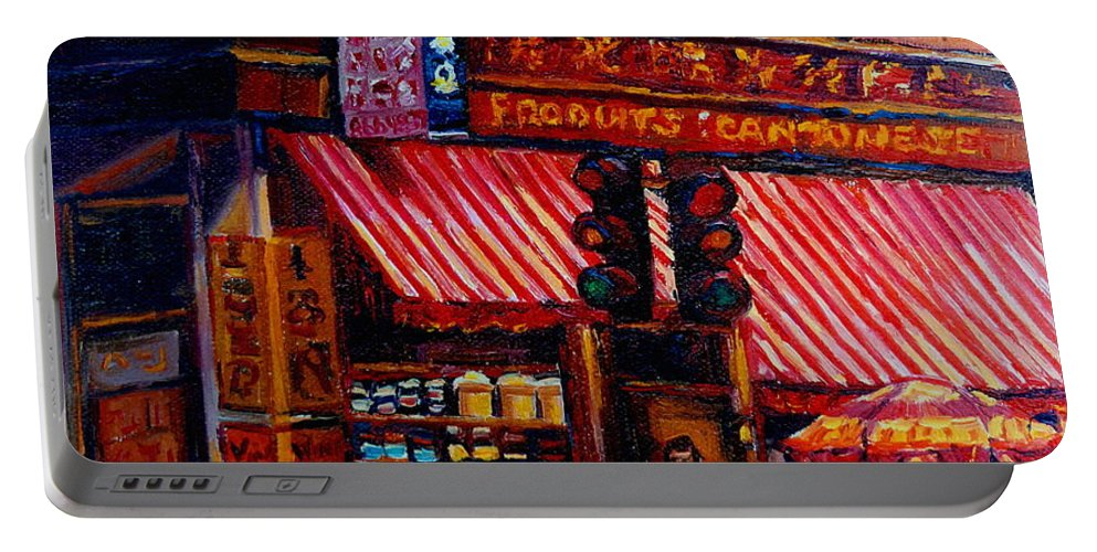 Chinatown Portable Battery Charger featuring the painting Chinatown Montreal by Carole Spandau