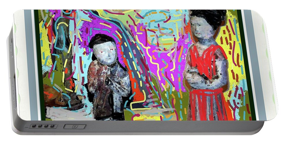 Portable Battery Charger featuring the photograph Chinese Figures by Shirley Moravec