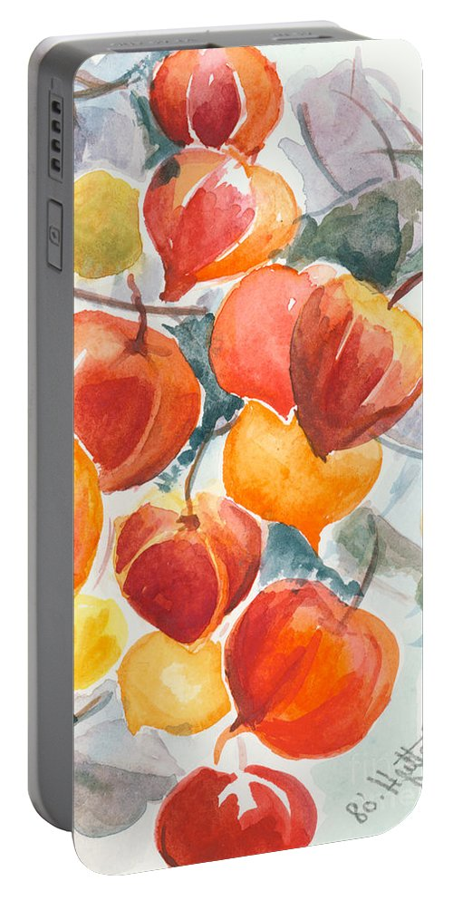 Flowers Portable Battery Charger featuring the painting Chinese Lanterns - Symbol Of Friendship by Elisabeta Hermann
