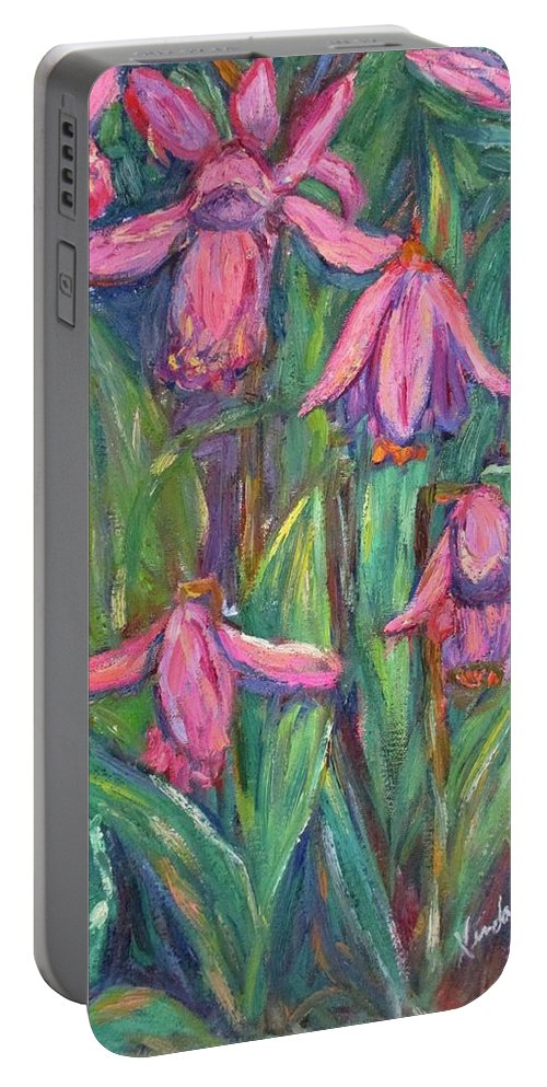 Floral Portable Battery Charger featuring the painting Chinese Orchids by Kendall Kessler