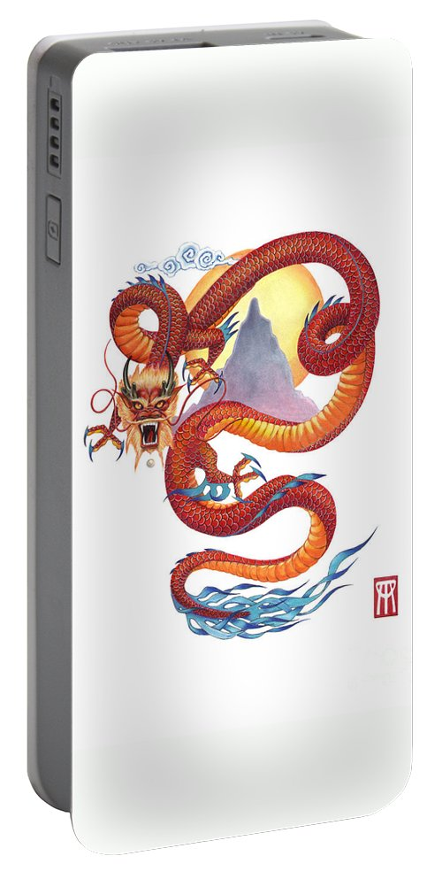 Dragon Portable Battery Charger featuring the painting Chinese Red Dragon by Melissa A Benson