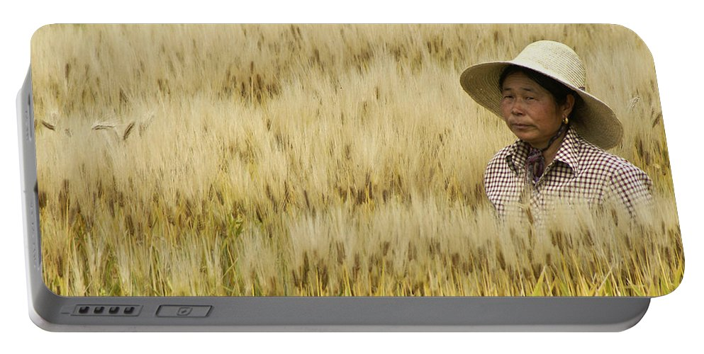 Asia Portable Battery Charger featuring the photograph Chinese Rice Farmer by Michele Burgess