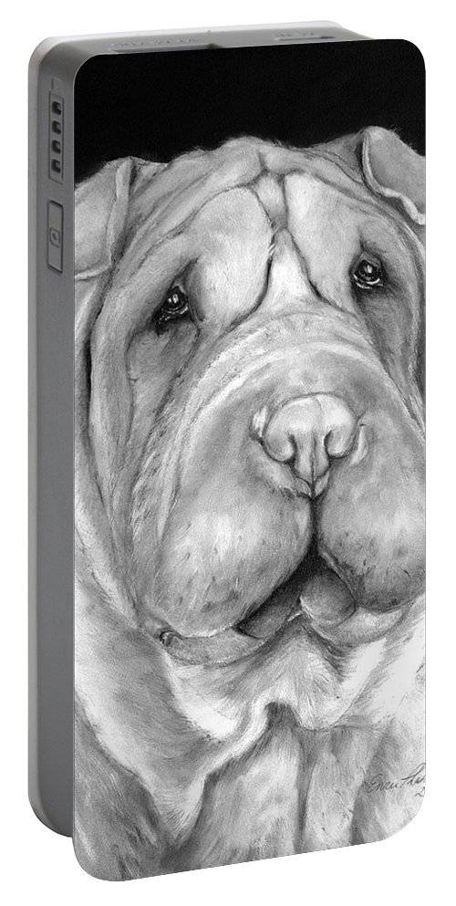 Sharpei Portable Battery Charger featuring the painting Chinese Sharpei by Portraits By NC