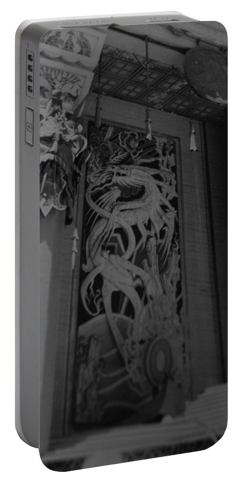 Black And White Portable Battery Charger featuring the photograph Chinese Theater by Rob Hans