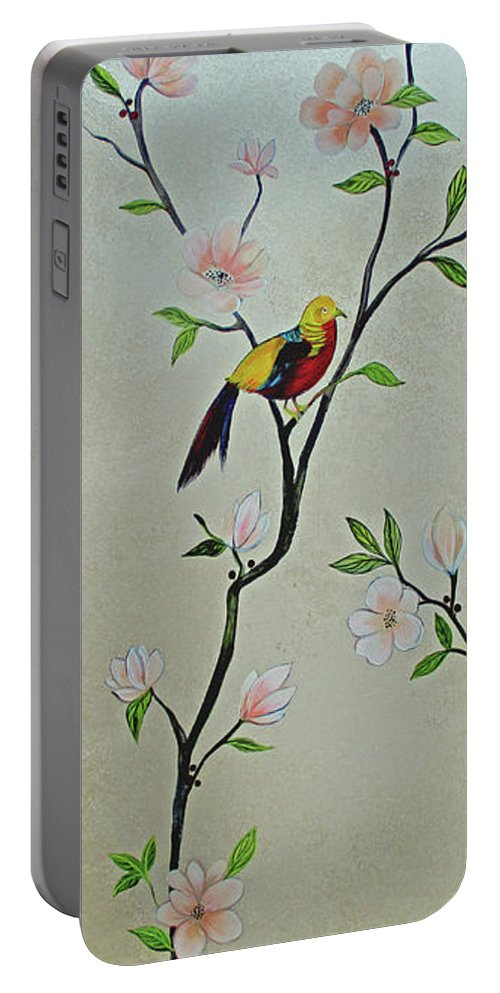 Peacock Peacocks Bird Birds Pattern Patterns Flowers Pink Green Leaf Leafy Leaves Vine Vines Ivy Plant Plants Fabric Fabrics Design Chinoiserie Panels Groupings Pheasant Flower Magnolia Golden Pheasant Butterfly Transitional Cardinal Red Bird Blue Bird Jay Peach Green Humming Bird And Blue Jay Portable Battery Charger featuring the painting Chinoiserie - Magnolias And Birds #1 by Shadia Derbyshire