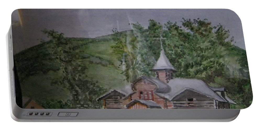 Gorno-altaisk Portable Battery Charger featuring the painting Chirch Near Gorno-altaisk by Artyom Ukhov